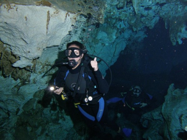 Scuba dive in a beautiful Cancun underwater cavern!